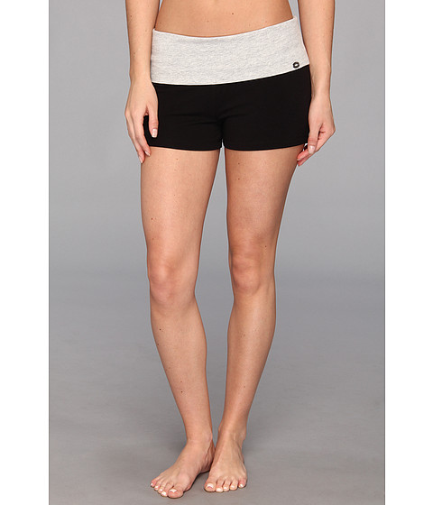 Steve Madden - Downward Dog Fold-Over Sleep Short (Pitch Black) Women
