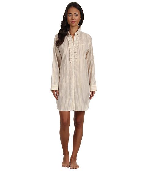 LAUREN by Ralph Lauren - Dangerous Liaisons L/S Ruffle Front Sleepshirt (Versailles Stripe) Women