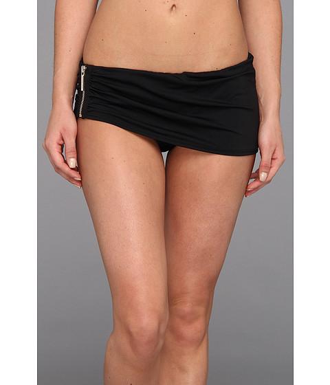 MICHAEL Michael Kors - Tunisia Solids Logo Zipper Skirted Hipster Bottom (Black) Women