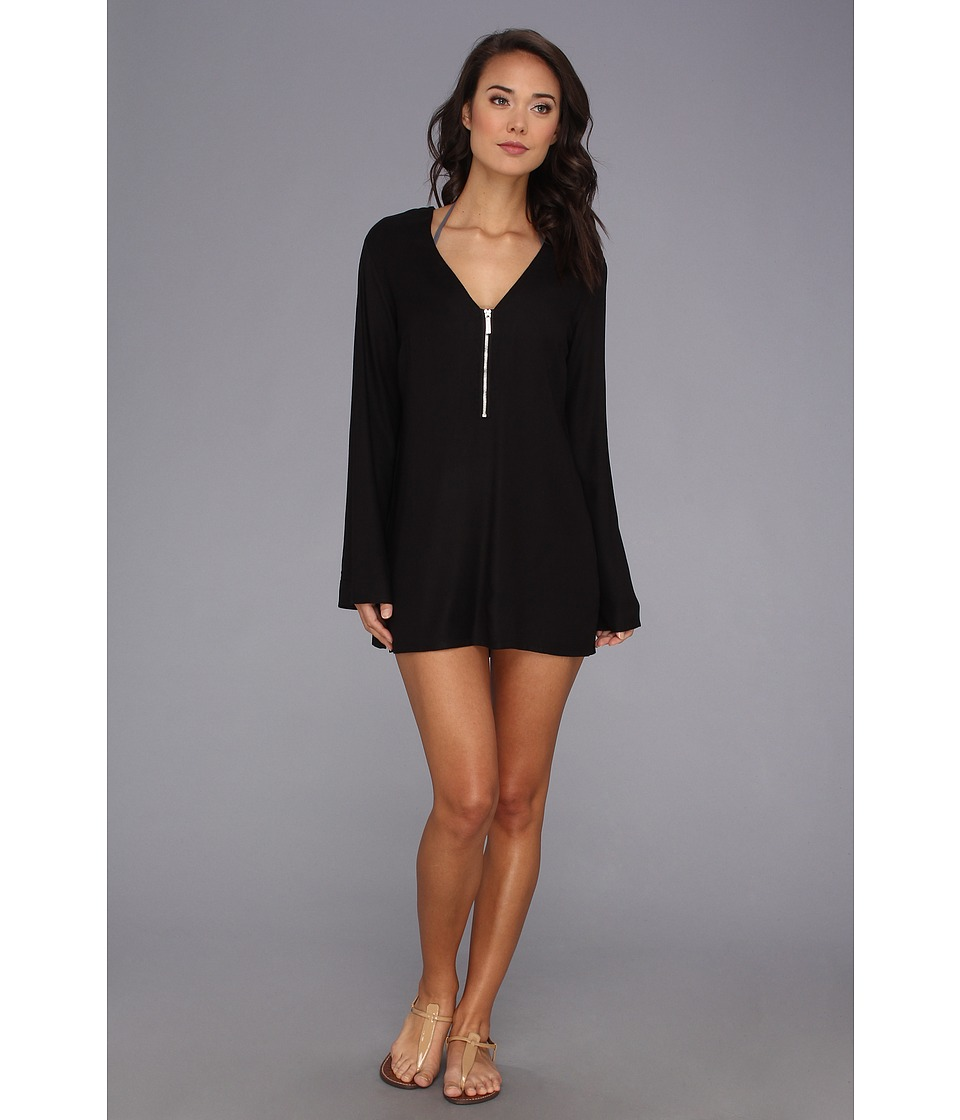 MICHAEL Michael Kors - Linked Solids Cover-Up Tunic (Black) Women's Swimwear