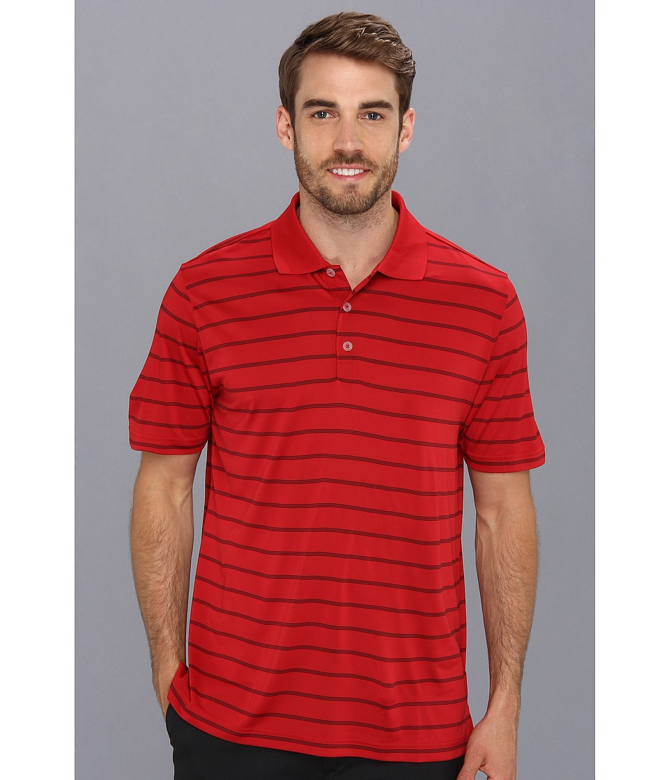 adidas Golf - Puremotion 2-Color Stripe Jersey Polo '15 (University Red/White) Men's Short Sleeve Knit