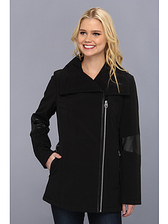 SALE! $36.99 - Save $45 on Calvin Klein Asymmetrical Faux Leather Trim Coat CW341388 (Black) Apparel - 54.89% OFF $82.00