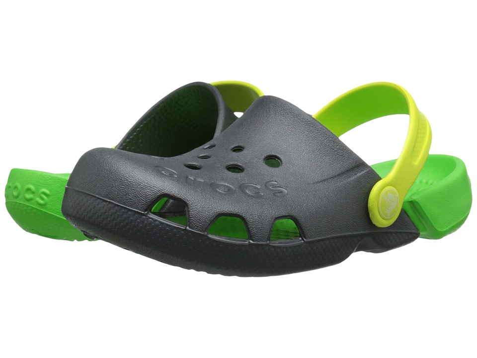 Crocs Kids - Electro (Toddler/Little Kid) (Graphite/Neon Green) Kids Shoes