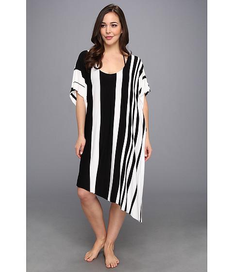 BECCA by Rebecca Virtue Plus Size Night Day Stripe Dress Cover-Up (Black) Women's Swimwear