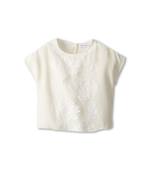 Dolce & Gabbana - Crepe de Chine Top (Infant) (White) Women's Short Sleeve Pullover