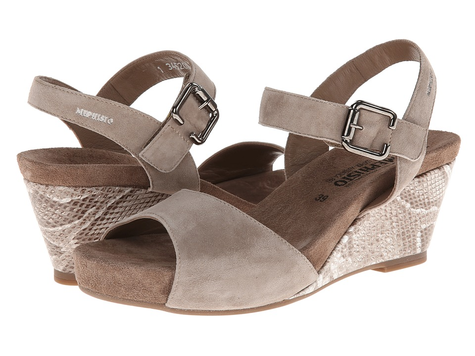 Mephisto - Beauty (Warm Grey Velcalf Premium/Light Sand Boa) Women's Hook and Loop Shoes