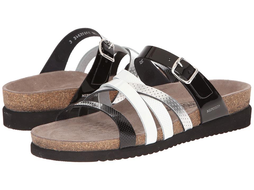 Mephisto - Huleda (Black/White Patent/Silver) Women's Sandals