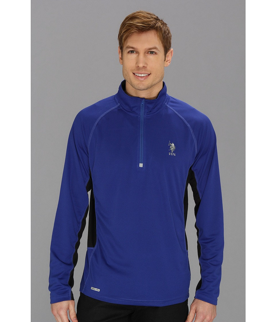 U.S. POLO ASSN. - Cage Mesh 1/4 Zip Active Top (Cobalt Blue) Men