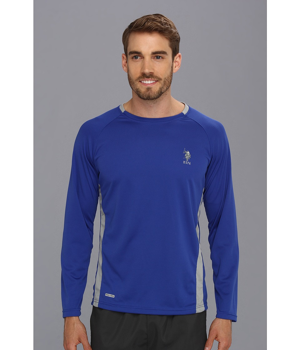 U.S. POLO ASSN. - Micro Mesh Long Sleeve Raglan Crew Neck (Cobalt Blue) Men