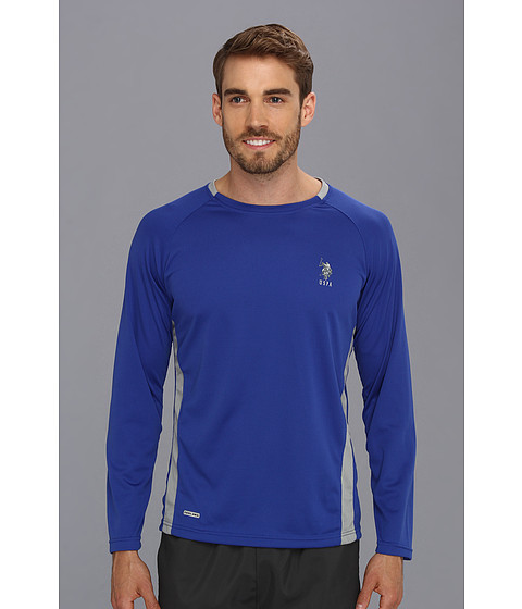 U.S. POLO ASSN. - Micro Mesh Long Sleeve Raglan Crew Neck (Cobalt Blue) Men's T Shirt
