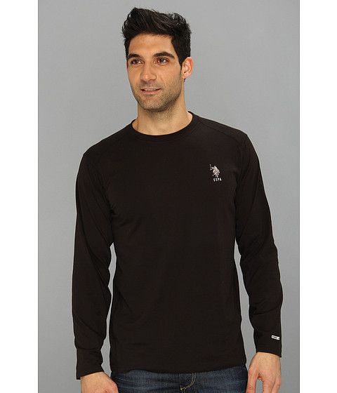 U.S. POLO ASSN. - Heathered Active Long Sleeve Crew Neck (Black) Men's T Shirt