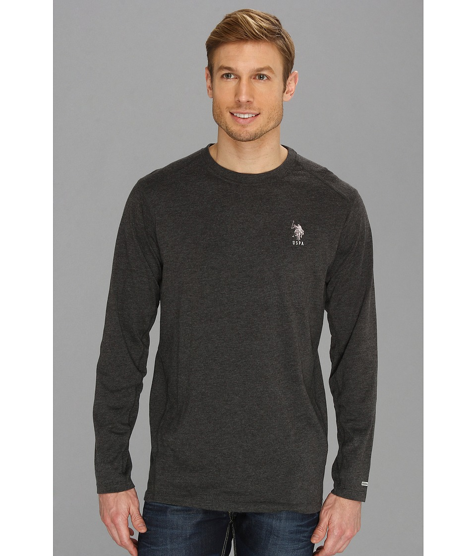 U.S. POLO ASSN. - Heathered Active Long Sleeve Crew Neck (Dark Grey) Men