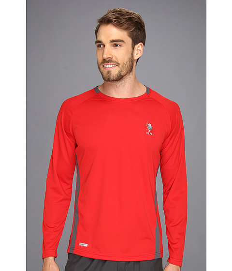 U.S. POLO ASSN. - Micro Mesh Long Sleeve Raglan Crew Neck (Engine Red) Men's T Shirt