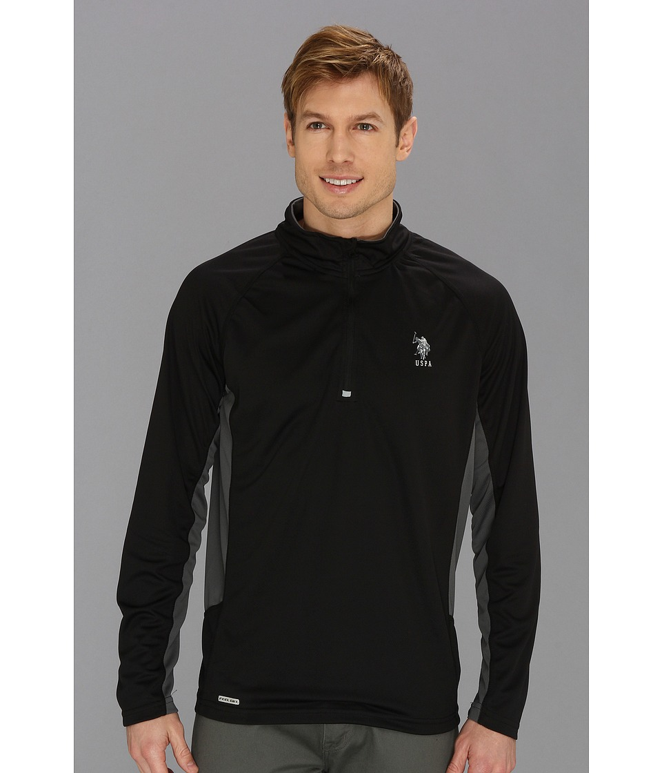 U.S. POLO ASSN. - Cage Mesh 1/4 Zip Active Top (Black) Men's Long Sleeve Pullover