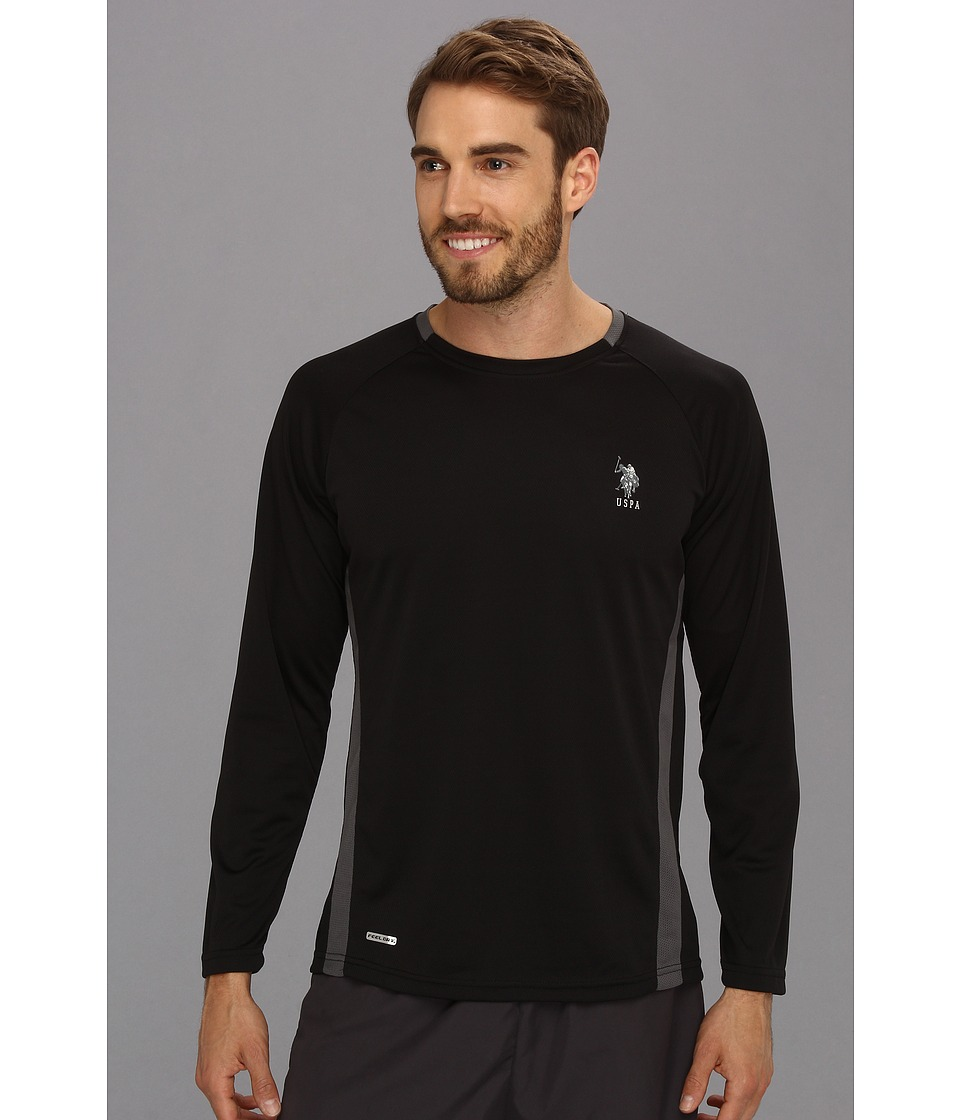 U.S. POLO ASSN. - Micro Mesh Long Sleeve Raglan Crew Neck (Black) Men's T Shirt