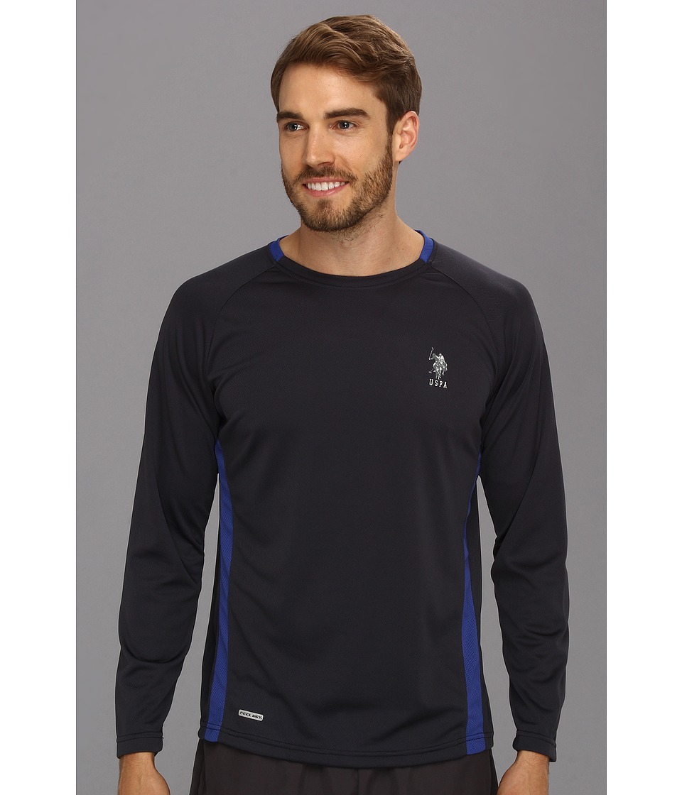U.S. POLO ASSN. - Micro Mesh Long Sleeve Raglan Crew Neck (Classic Navy) Men