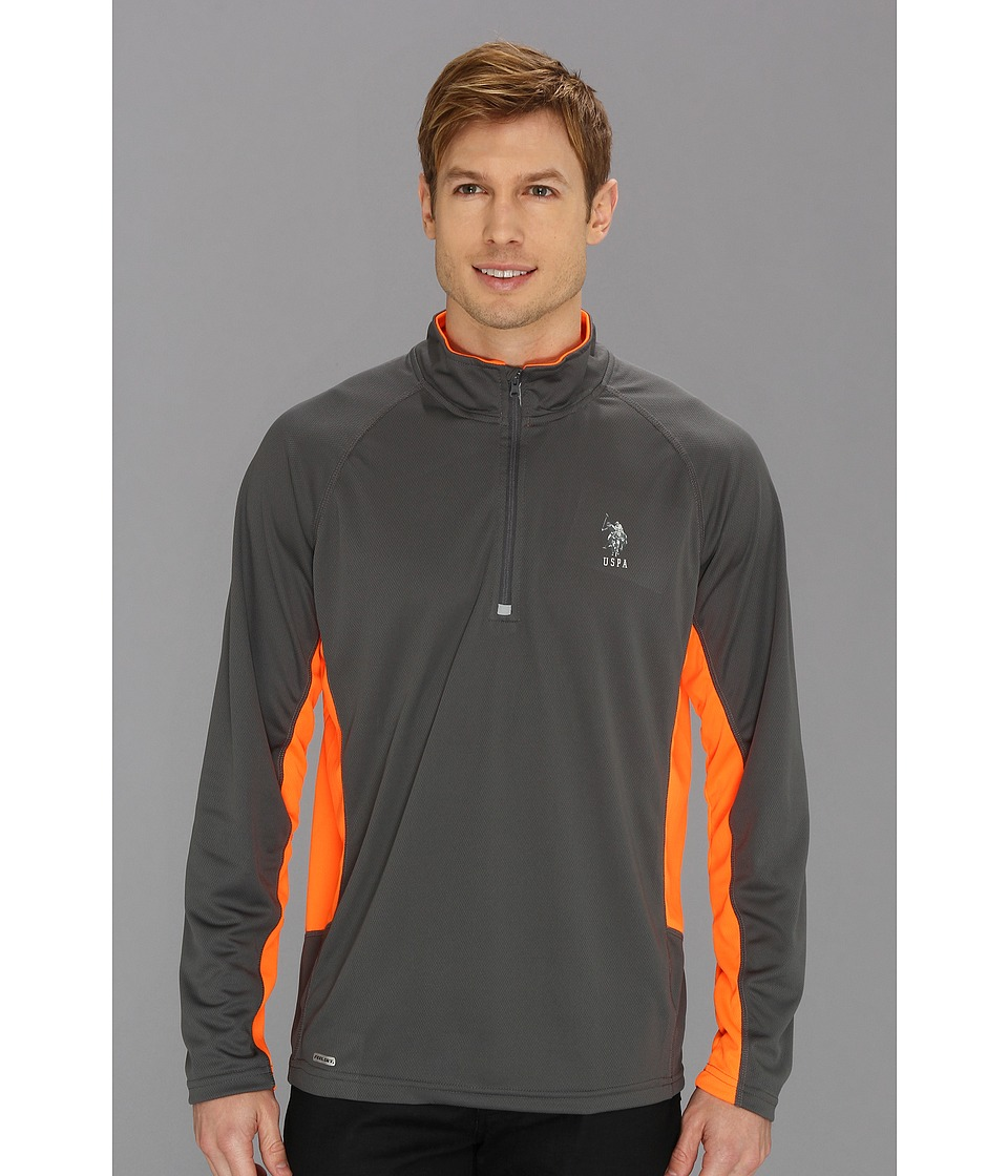 U.S. POLO ASSN. - Cage Mesh 1/4 Zip Active Top (Castlerock) Men's Long Sleeve Pullover