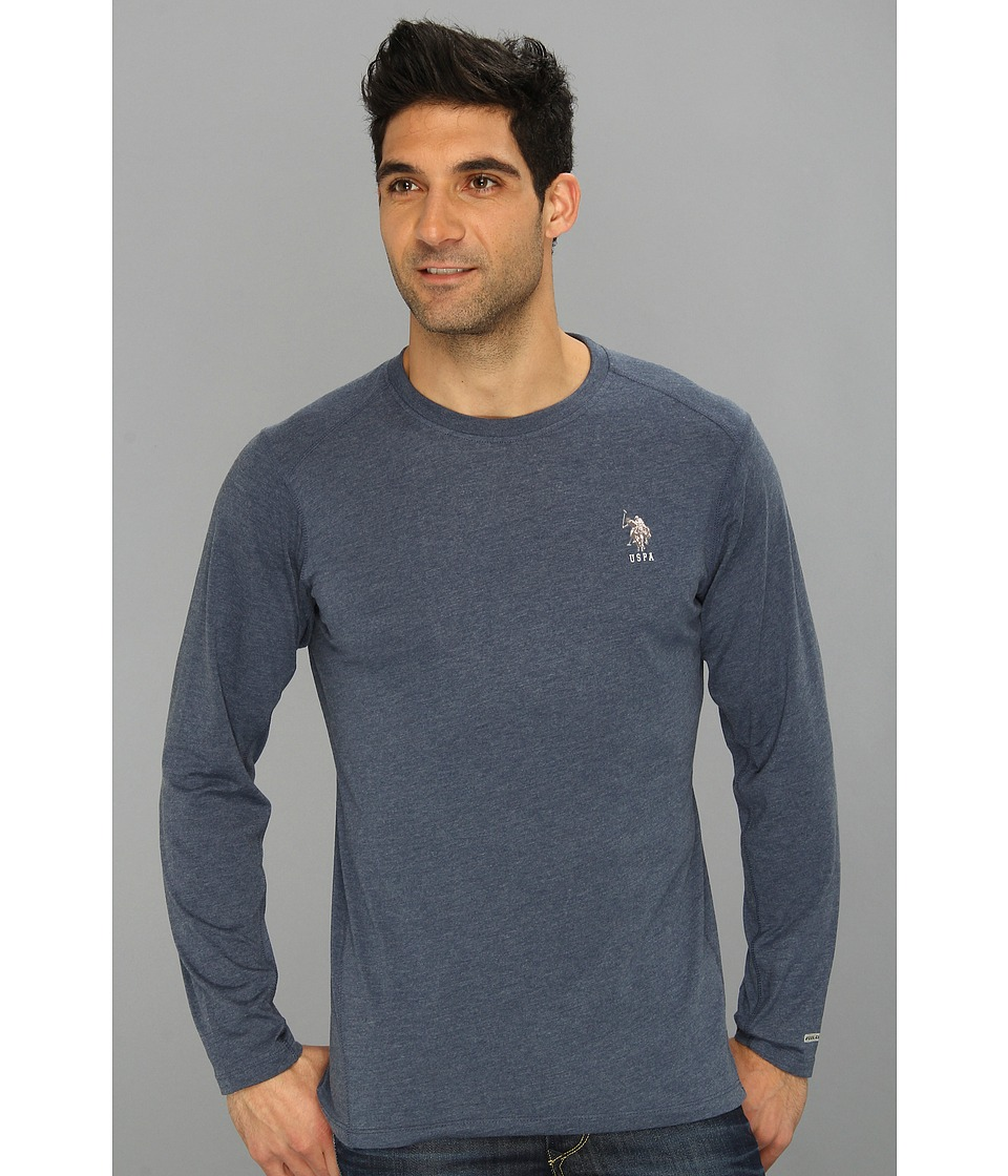 U.S. POLO ASSN. - Heathered Active Long Sleeve Crew Neck (Classic Navy) Men