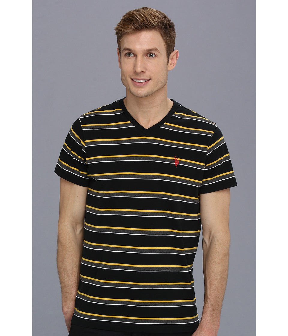 U.S. POLO ASSN. - Striped V-Neck T-Shirt with Three Contrast Colors (Black) Men's T Shirt