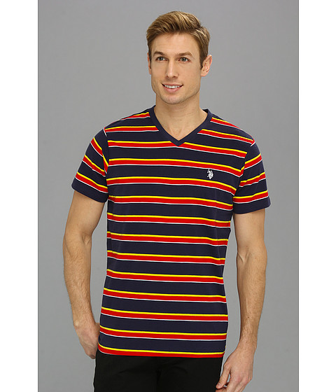 U.S. POLO ASSN. - Striped V-Neck T-Shirt with Three Contrast Colors (Classic Navy) Men's T Shirt