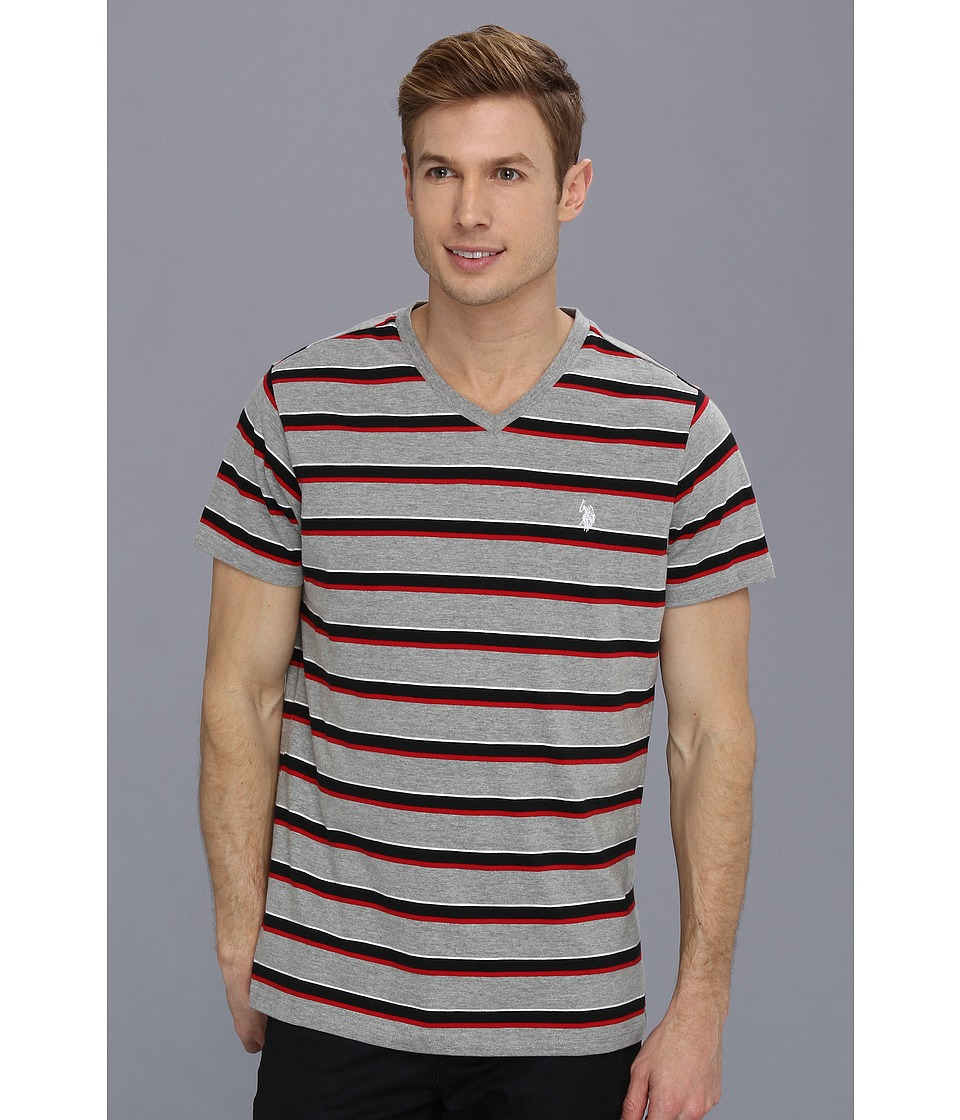 U.S. POLO ASSN. - Striped V-Neck T-Shirt with Three Contrast Colors (Medium Heather Grey) Men's T Shirt