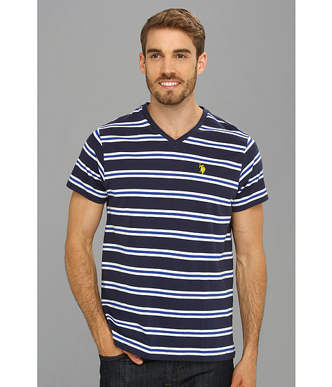U.S. POLO ASSN. - Striped T-Shirt with V-Neckline (Classic Navy) Men