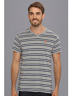 SALE! $11.9 - Save $22 on U.S. POLO ASSN. Striped T Shirt with V Neckline (Medium Heather Grey) Apparel - 65.00% OFF $34.00