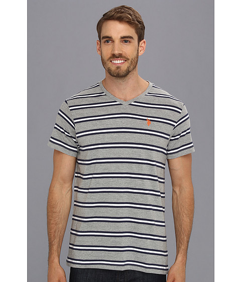 U.S. POLO ASSN. - Striped T-Shirt with V-Neckline (Medium Heather Grey) Men's T Shirt