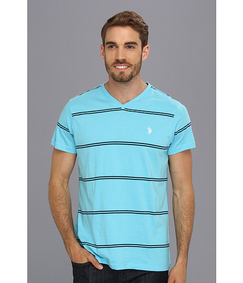 U.S. POLO ASSN. - Narrow Striped V-Neck T-Shirt (Horizon Blue) Men's T Shirt