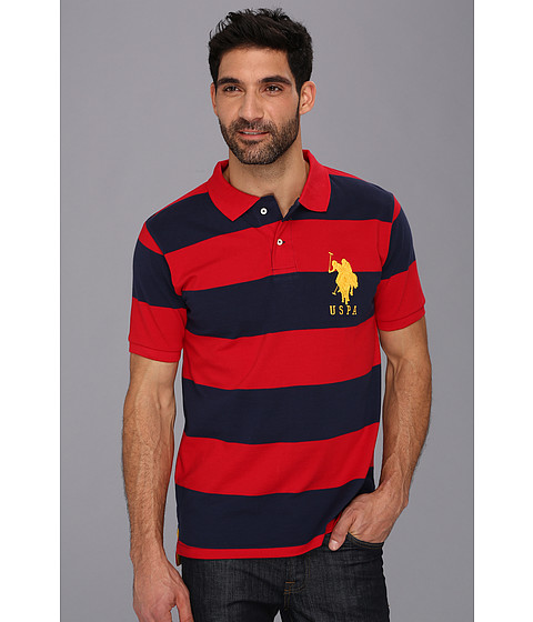 U.S. POLO ASSN. - Wide Striped Polo with Big Pony (Engine Red/Classic Navy) Men