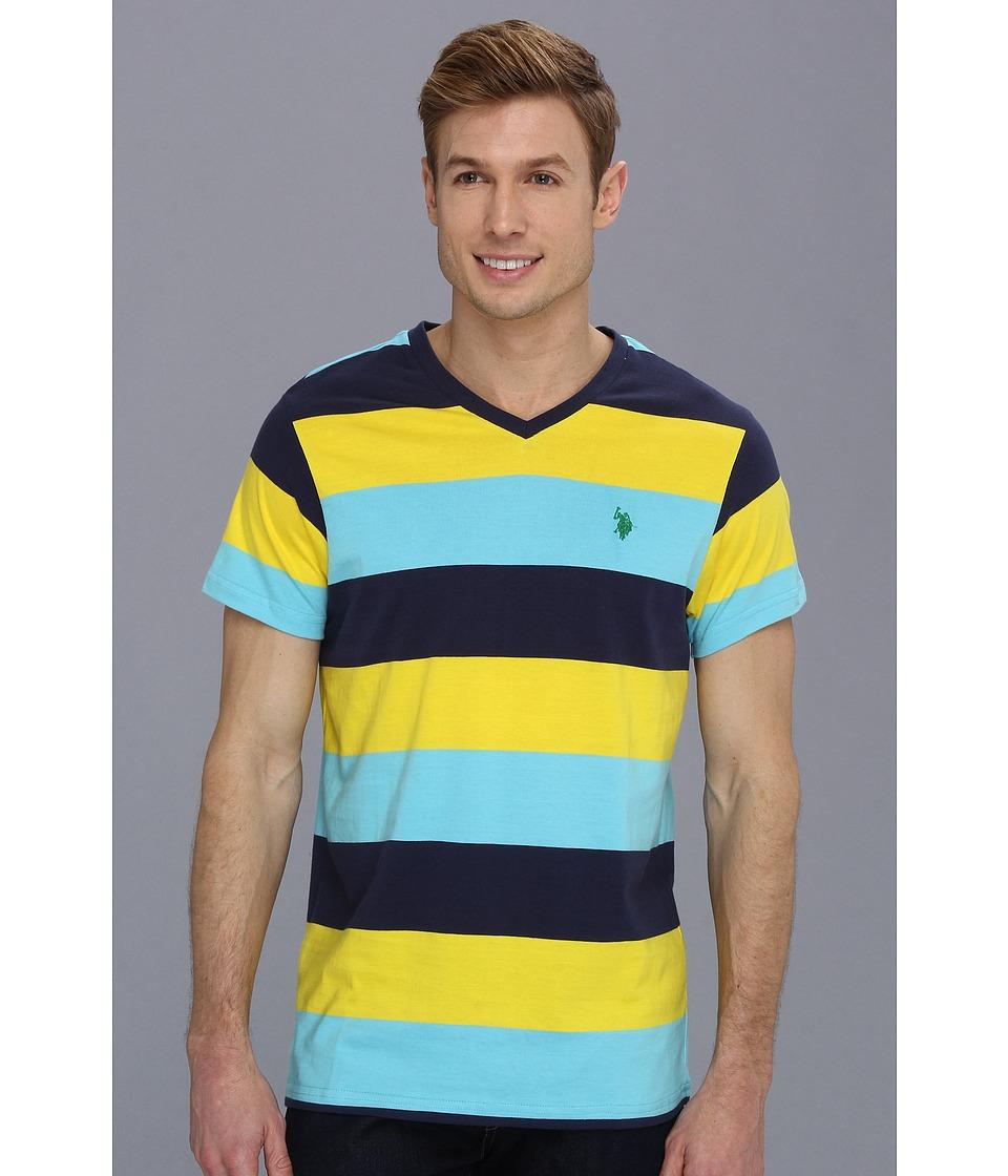 U.S. POLO ASSN. - Wide Striped T-Shirt with V-Neckline (Horizon Blue) Men