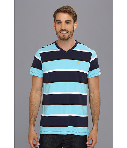 U.S. POLO ASSN. - Striped V-Neck T-Shirt (Java Brown) Men's T Shirt