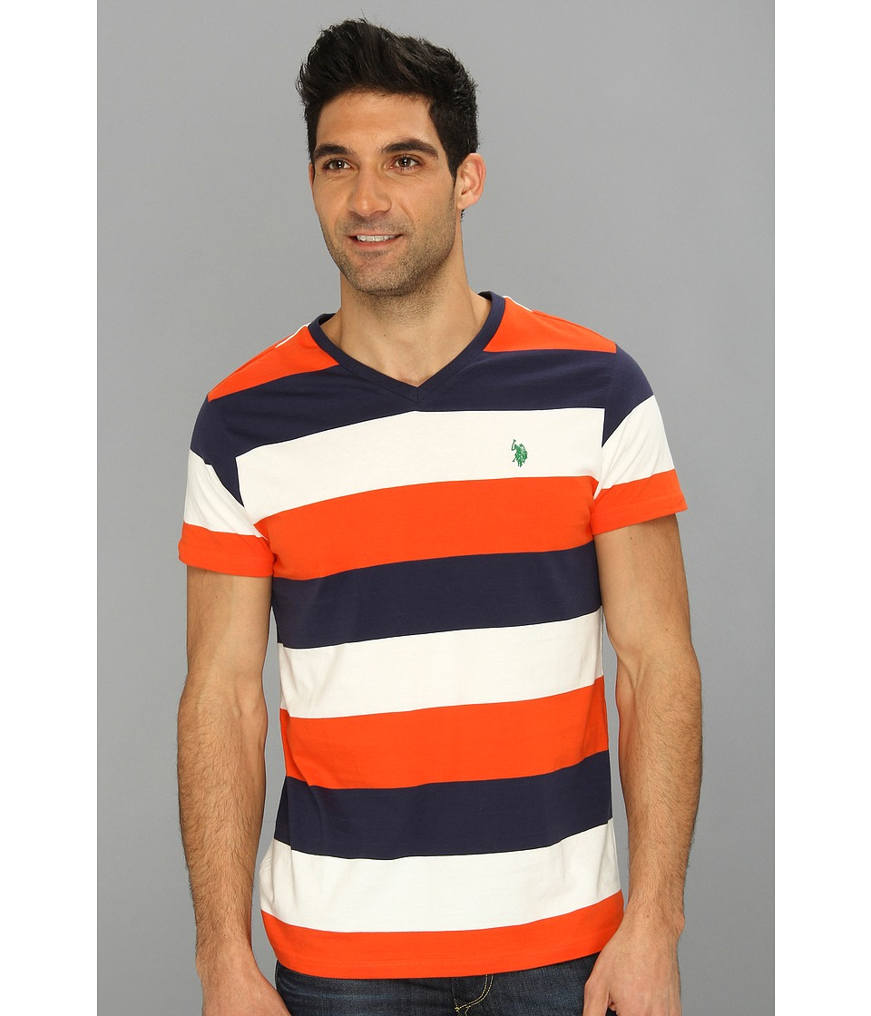 U.S. POLO ASSN. - Wide Striped T-Shirt with V-Neckline (Orange) Men