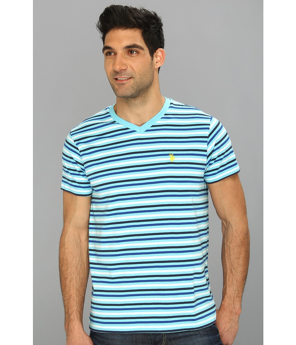U.S. POLO ASSN. - Narrow Striped T-Shirt with V-Neckline (Horizon Blue) Men's T Shirt