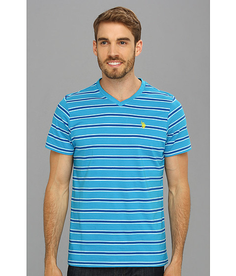 U.S. POLO ASSN. - Short Sleeve Striped T-Shirt with V-Neckline (Teal Blue) Men's T Shirt