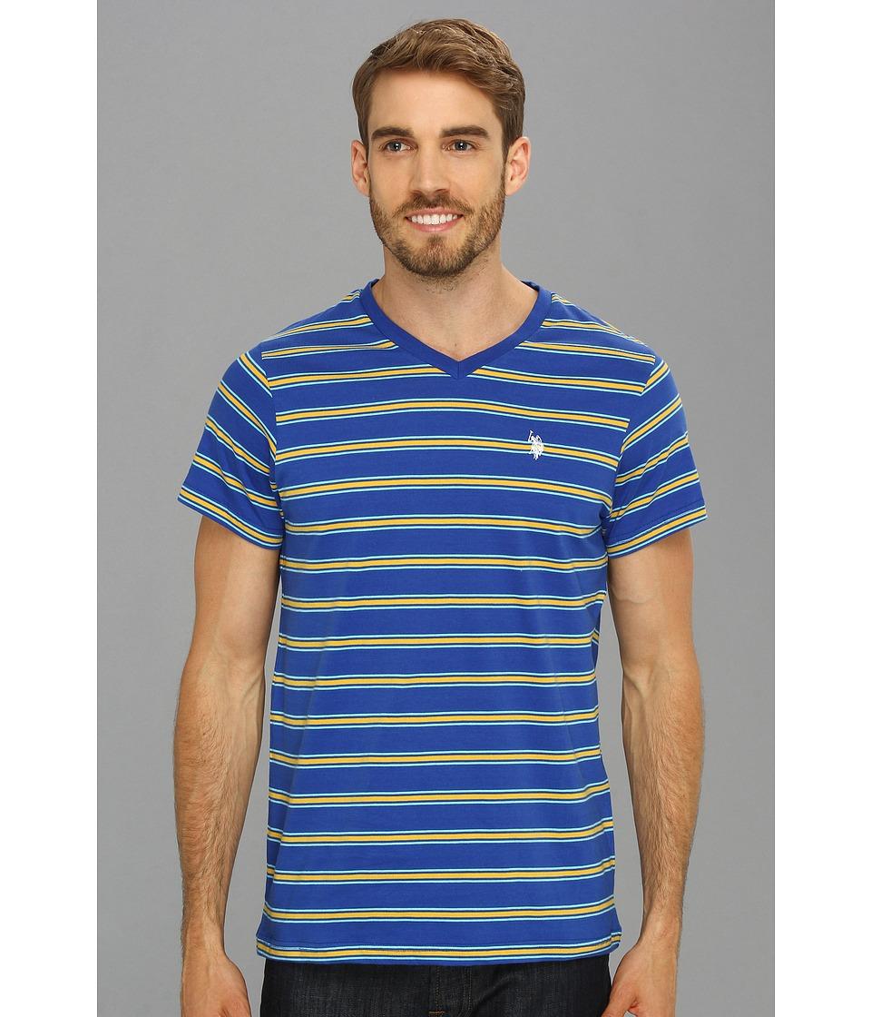 U.S. POLO ASSN. - Short Sleeve Striped T-Shirt with V-Neckline (Yellow) Men's T Shirt