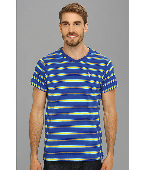 U.S. POLO ASSN. - Short Sleeve Striped T-Shirt with V-Neckline (Yellow) Men's T Shirt