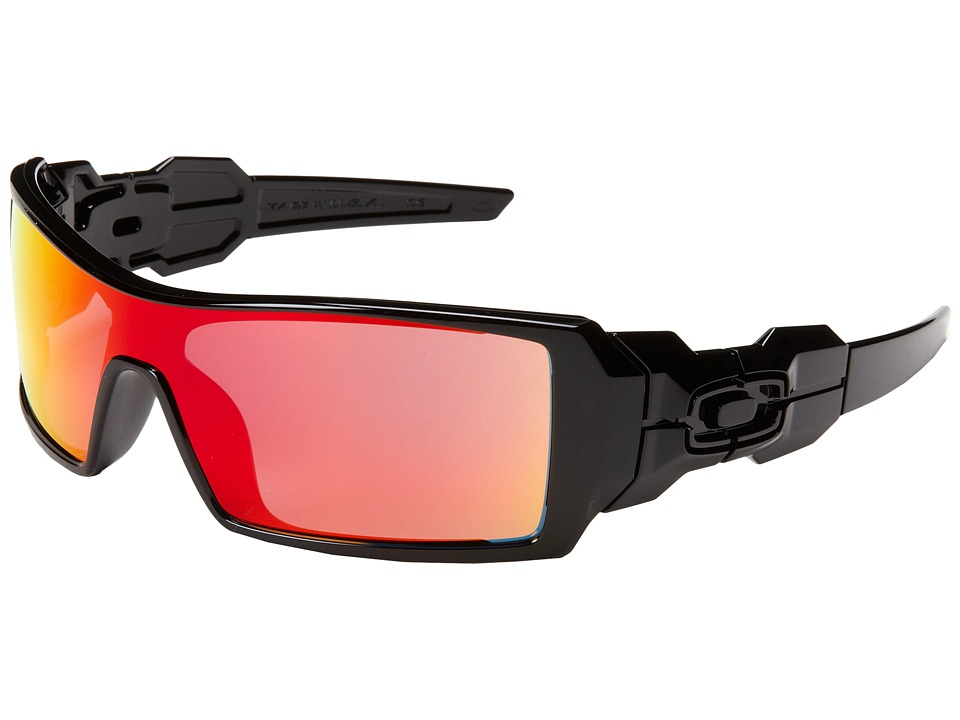 Oakley - Oil Rig (Polished Black w/Ruby Iridium) Sport Sunglasses