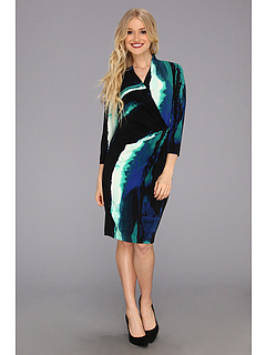 SALE! $34.99 - Save $65 on Calvin Klein 3 4 Sleeve Dress (Black Ink Multi) Apparel - 64.83% OFF $99.50