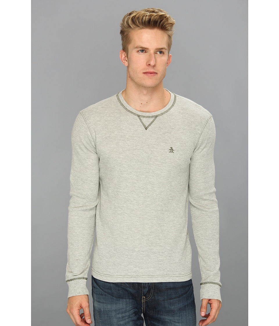 Original Penguin - Waffle Crewneck Tee (Rain Heather) Men's T Shirt