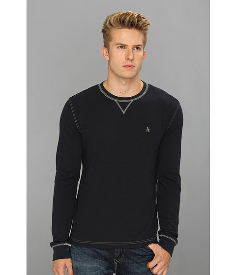Original Penguin - Waffle Crewneck Tee (Dress Blue) Men