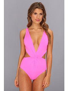 SALE! $59.99 - Save $138 on Mara Hoffman Front Twist One Piece (Neon Pink) Apparel - 69.70% OFF $198.00