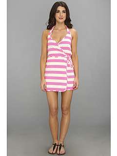 SALE! $69.99 - Save $81 on Juicy Couture Sixties Stripe Wrap Cover Up Dress (Shell Shock) Apparel - 53.65% OFF $151.00