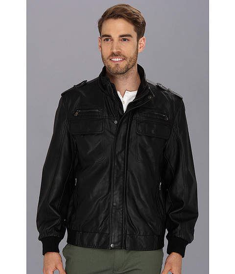 Calvin Klein - PU Bomber (Black) Men's Coat