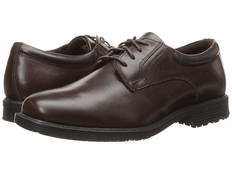 Rockport - Essential Details Waterproof Plain Toe Oxford (Dark Brown) Men's Shoes