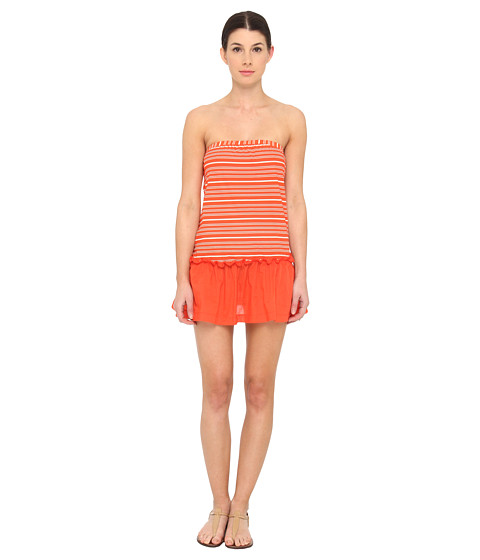 Marc by Marc Jacobs - Tara Stripe Pull On Bandeau Dress Cover-Up (Vibrant Red) Women's Swimwear