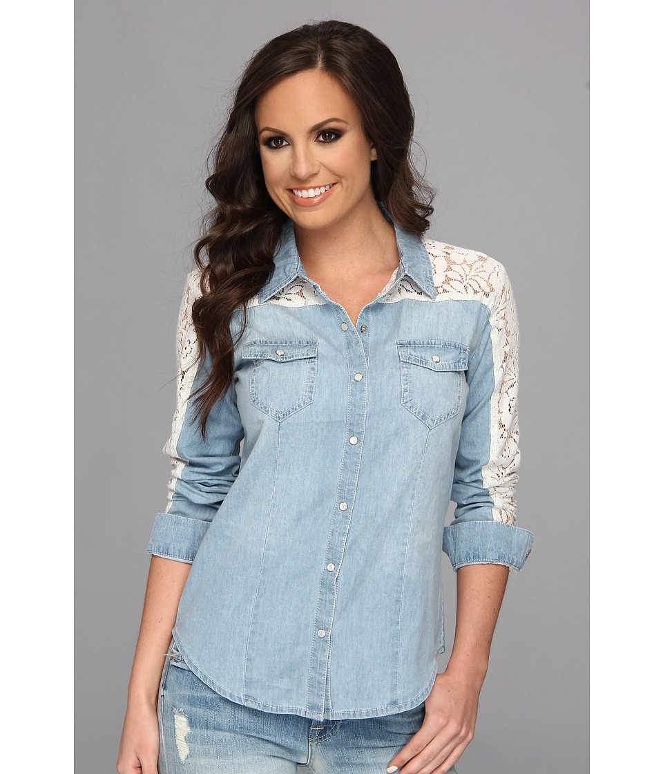 Scully - Honey Creek Sasha Denim and Lace Shirt (Blue) Women's Long Sleeve Button Up