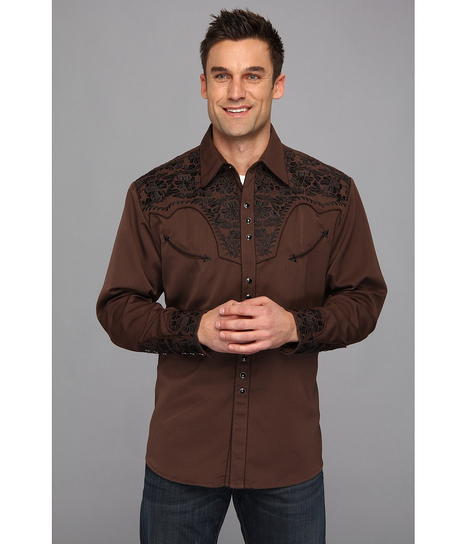 Scully - Floral Tooled Shirt (Chocolate) Men's Long Sleeve Button Up