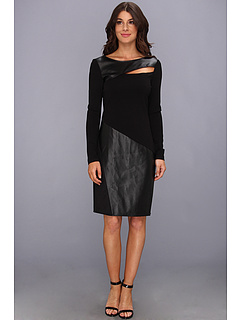 SALE! $69.99 - Save $69 on DKNYC L S Dress w Faux Leather Panel (Black) Apparel - 49.65% OFF $139.00