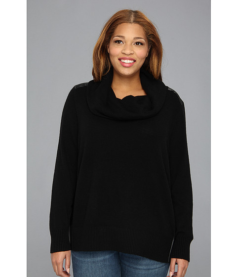 DKNYC - Plus Size L/S Cowl Neck Pullover w/ Faux Leather Panels (Black) Women's Long Sleeve Pullover